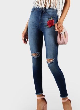 jeans denim rose trendy embroidered ripped jeans ripped