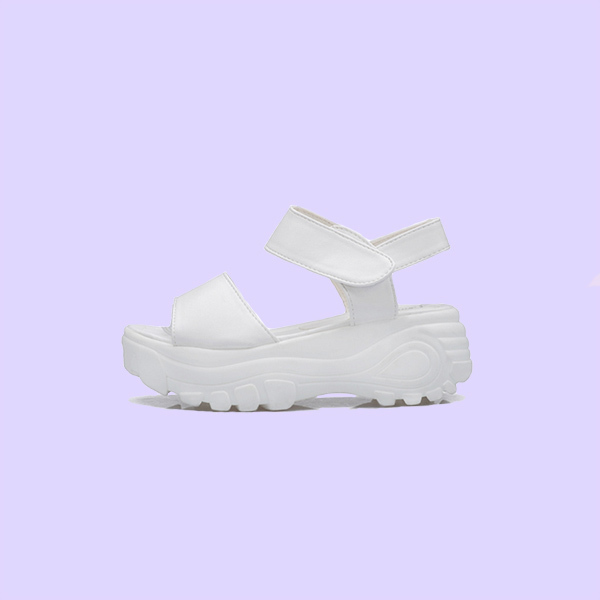Petmilk — white 90s space babe sandals