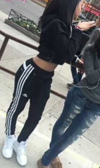 pants adidas pants sportswear black and white shoes leggings jacket
