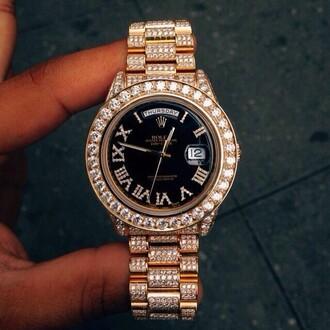 jewels watch gold jewlrey black chic pretty