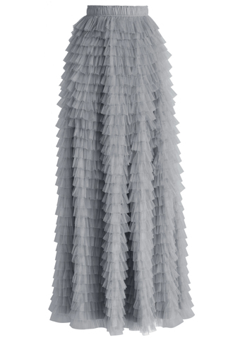 skirt chicwish swan cloud maxi skirt in grey maxi tulle skirt grey skirt chicwish.com tulle skirt