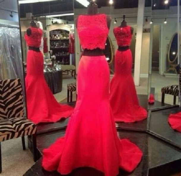 lace dress lace prom dress prom prom dress pink dress lace top red dress train two-piece tight mermaid prom dress dress instagram two piece dress set red skirt long red dress