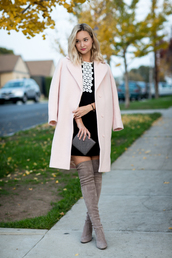 late afternoon,blogger,dress,coat,shoes,jewels,bag,nude coat,black dress,fall outfits,thigh high boots,grey boots
