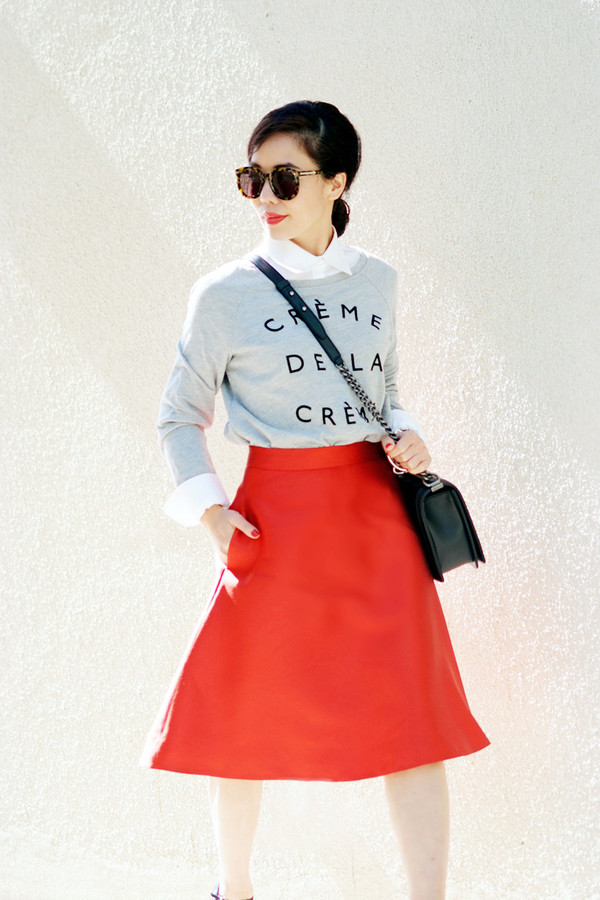 hallie daily skirt sweater bag shoes sunglasses jewels