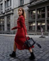 dress,red dress,button up,long sleeve dress,black boots,handbag,earrings,printed dress