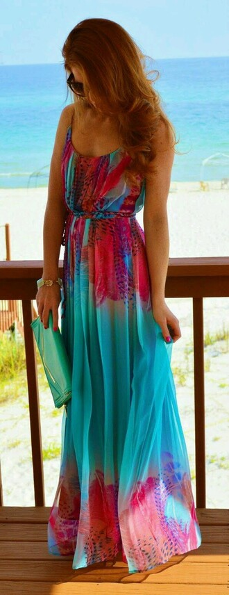 dress beachy tropical turquoise maxi dress colorful