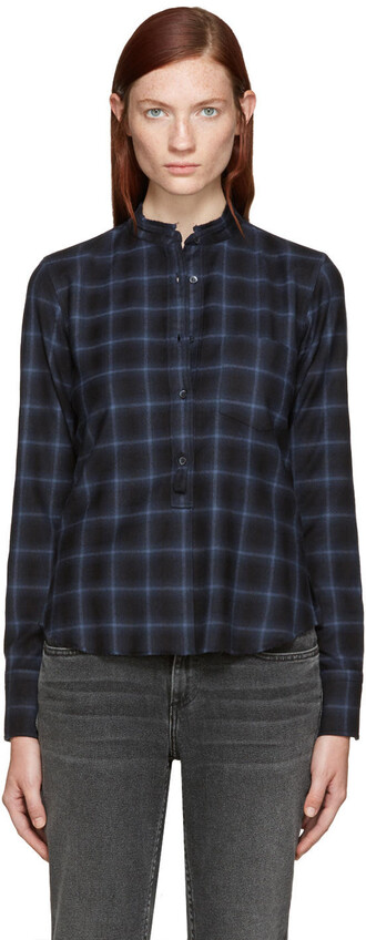 shirt plaid shirt plaid navy top