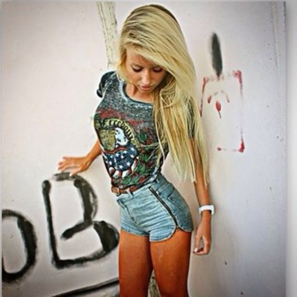 guns and roses top watch High waisted shorts