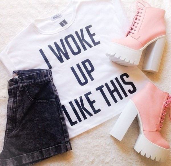 shoes pink platform shoes hipster girly platform lace up boots t-shirt skirt shorts i woke up like this beyonce flawless t-shirt topshop wildfox sweater sweatpants sportswear wildfox chunky chunky heels chunky boots grunge black goth heels