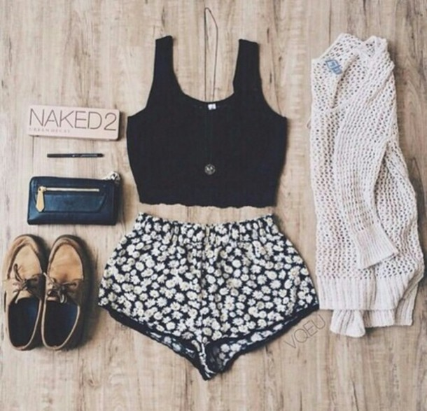 shorts cardigan top