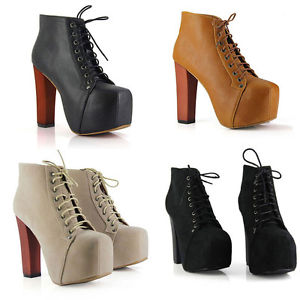 New Womens Fashion Shoes Ankle Boots High Heels Platforms Pumps Sexy Lace Up   eBay