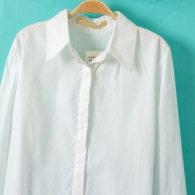 White Lapel Long Sleeve Slim Blouse - Sheinside.com