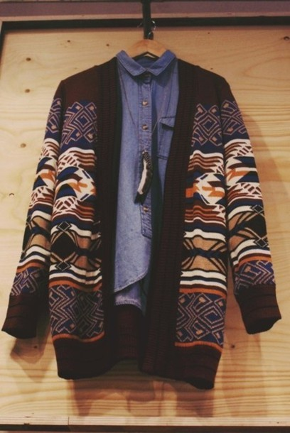 sweater girly streetstyle whatever jeans jacket tribal pattern mojave cardigan necklace pattern
