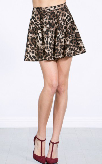 Cheetah Print Skater Skirt | MakeMeChic.com on Wanelo
