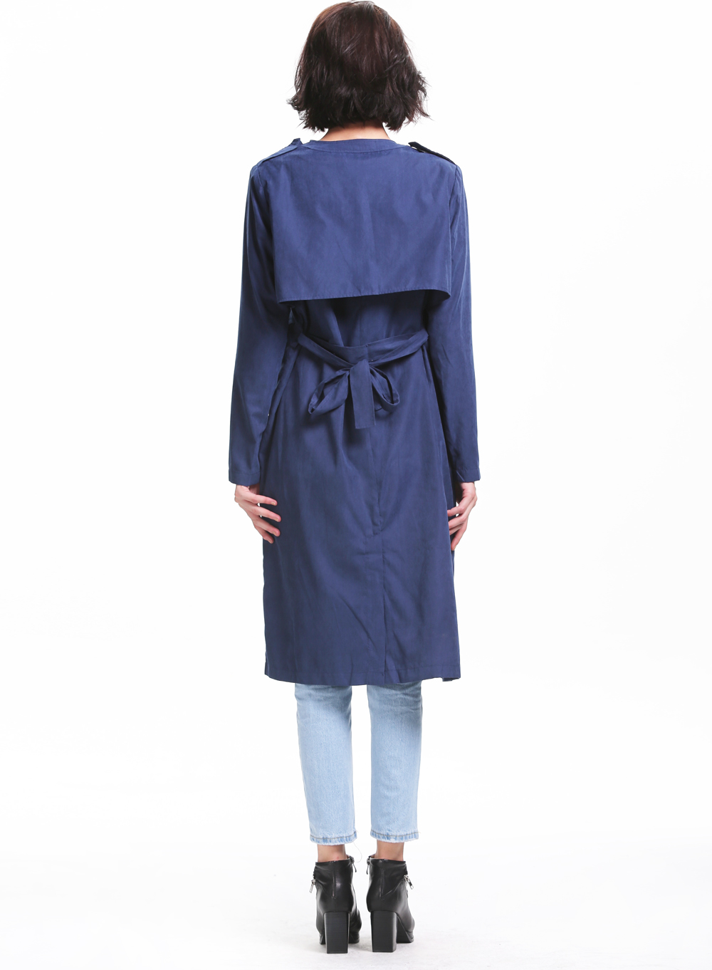 Navy Lapel Long Sleeve Pockets Trench Coat - Sheinside.com