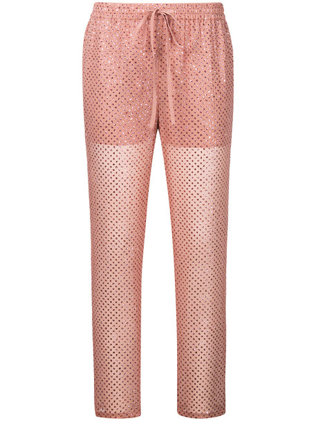 RED VALENTINO embroidered women silk purple pink pants