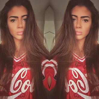 shirt red coca cola shirt