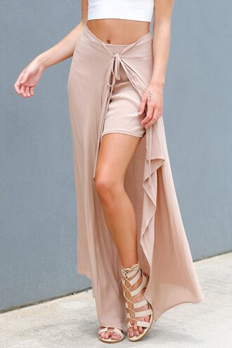 skirt pink nude summer asymmetrical style fashion spring zaful