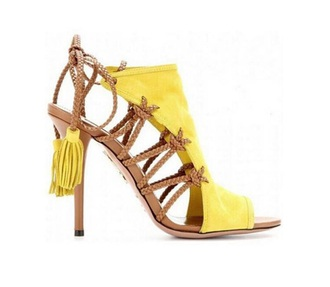 shoes yellow strappy heels heels sandal heels