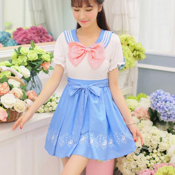dress sailor moon blue dress pink bow cute dress kawaii kawaii dress