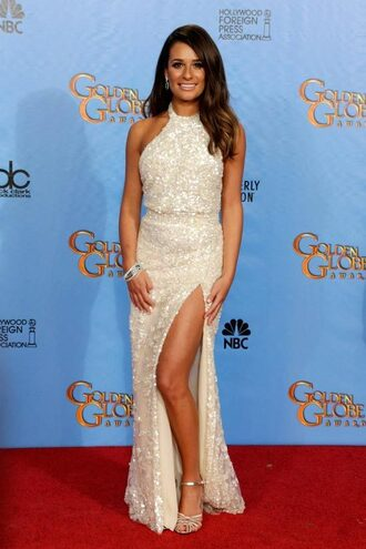 dress white dress maxi dress prom dress elie saab buy slit dress ivory dress love it thanks embellished dress halter dress lea michele