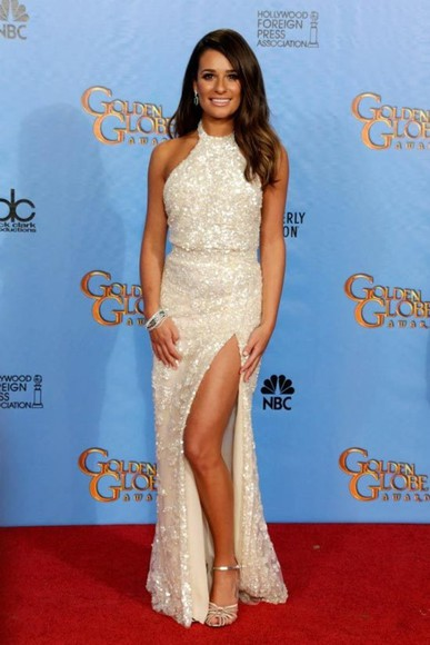 dress lea michele white dress maxi dress prom dress elie saab buy slit dress ivory dress love it thanks embellished dress halter dress