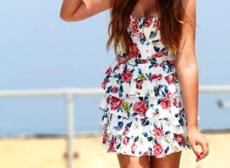 dress pink blue white ruffle short summer flowers floral red green strapless spring
