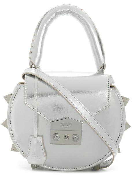 mini women bag shoulder bag suede grey metallic
