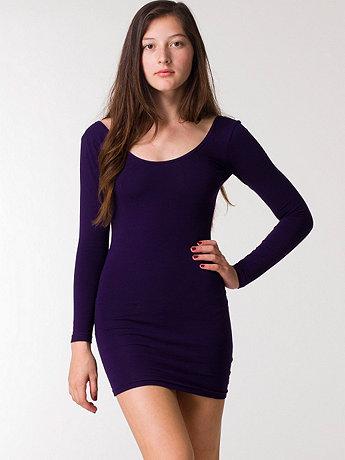 American Apparel - Cotton Spandex Jersey Double U-Neck Long Sleeve Mini Dress