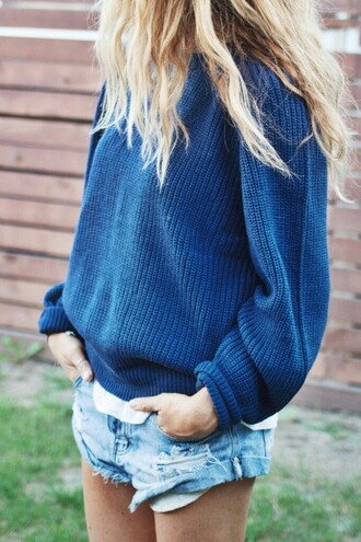 sweater sweatshirt blue cozy old vintage indie 90s style denim oversized sweater petrol