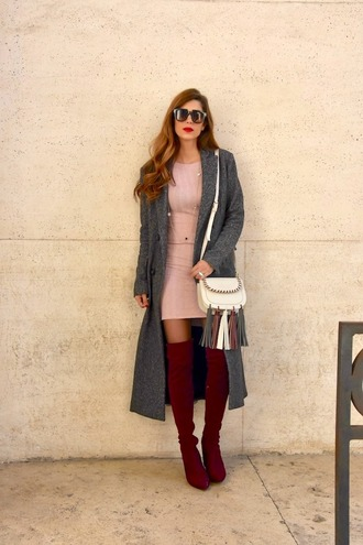 cosamimetto blogger coat dress sunglasses jewels shoes bag red boots boots thigh high boots shoulder bag mini dress grey coat winter outfits