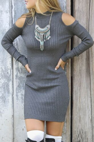 dress sweater dress off the shoulder dress boho jewelry high neck bohemian autumn/winter zaful chic robe cut-out grey knitwear long sleeves
