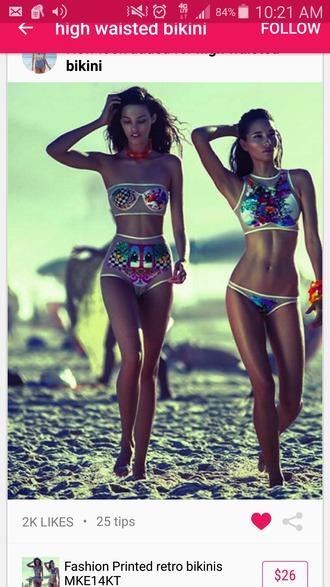 swimwear high waisted bikini retro bikini halter neck colorful bikini hi neck halter top hi neck high waisted bikini
