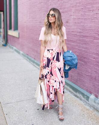 skirt floral skirt sunglasses tumblr maxi skirt floral high low skirt sandals sandal heels t-shirt pink t-shirt shoes jacket