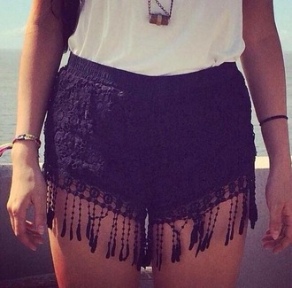shorts black fringe lace cute cute shorts summer summer shorts black shorts fringes fringe shorts lace shorts lace short