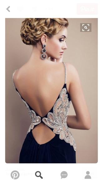 dress navy embellished silver gems sammydress sammydres find me open back dresses open back prom need help finding itt