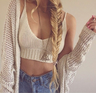 sweater tank top nude knitted tank crop tops