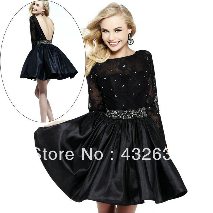 Gown Satin Lace Backless Long Sleeve Short Prom Dress Black 2014 ...