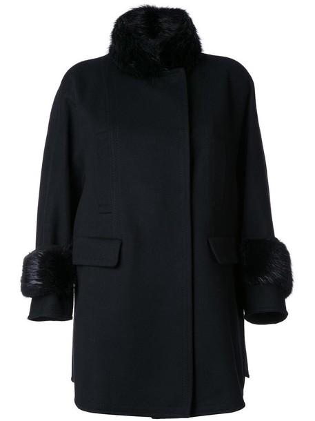 Ermanno Scervino coat fur women black wool