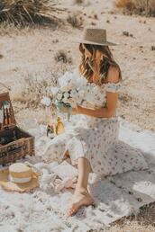 a little dash of darling,blogger,dress,hat,shoes,summer dress,off the shoulder dress,straw hat
