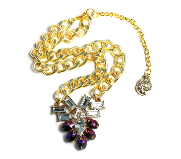 Chunky Chain Metallic Purple Glitz Collar