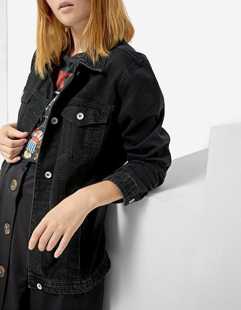 Stradivarius jacket denim jacket oversized denim jacket denim oversized black