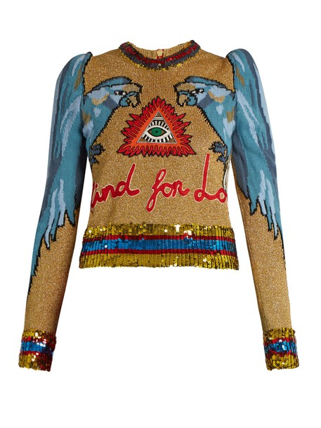gucci sweater embellished gold