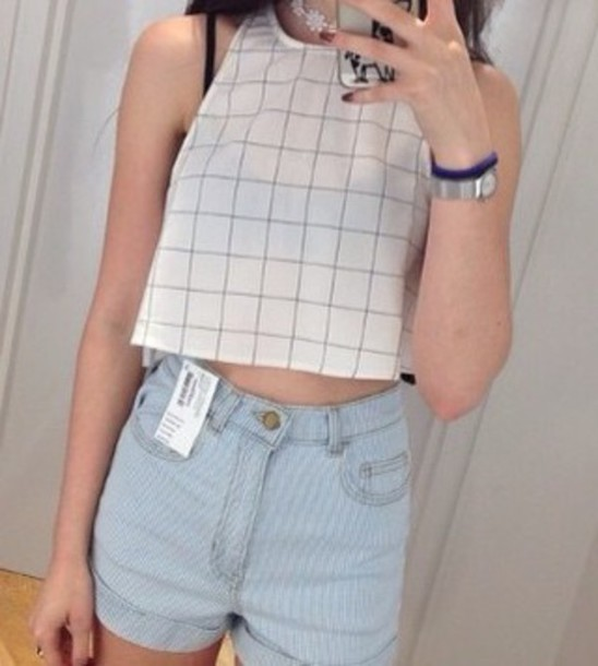 top crop tops black and white crop tops cropped graphic tee jeans grunge plaid crop tops style hipster top white t-shirt white crop tops grunge t-shirt