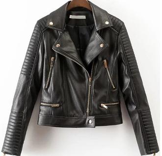 jacket leather leather jacket zip biker jacket black