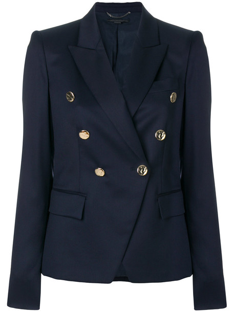 blazer women cotton blue wool jacket