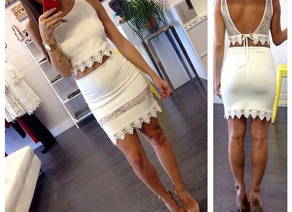 skirt crop tops white