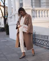 coat,wool coat,oversized coat,jeans,white jeans,cropped jeans,ripped jeans,mules,sweater