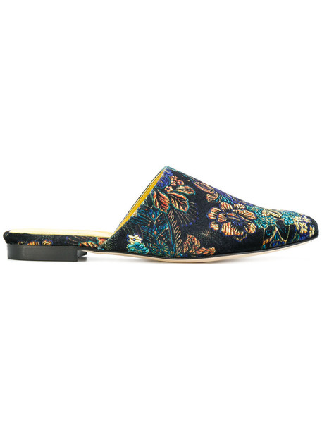Danielapi women mules floral leather silk velvet shoes