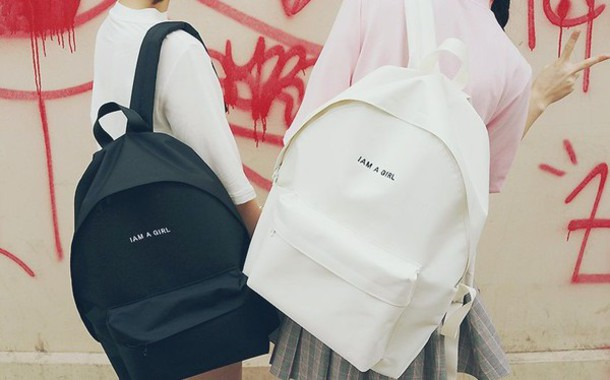 bag kozy black white black and white school bag school girl yin yang kawaii pastel indie